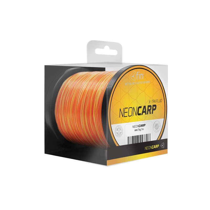 Vlasec na ryby FIN NEON CARP yellow orange 800m 0,40mm 25,4lb