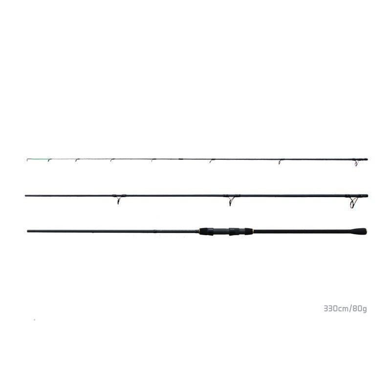 Set: rybársky prút(udica) Delphin Opium black feeder + 3 špičky 3,6m 80g