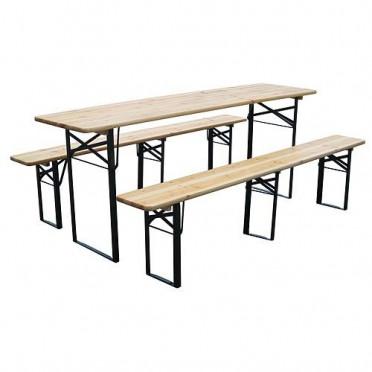 Skladací drevený set stôl s lavicami  dlhý 175 cm 25cm široké lavice