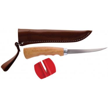 Filetovací nôž s dřevenou ručkou a pouzdrem (čepel 10cm)